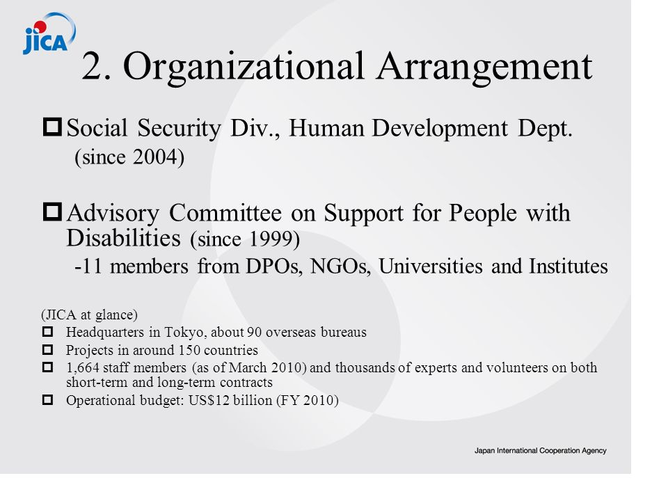 2. Organizational Arrangement Social Security Div., Human Development Dept.