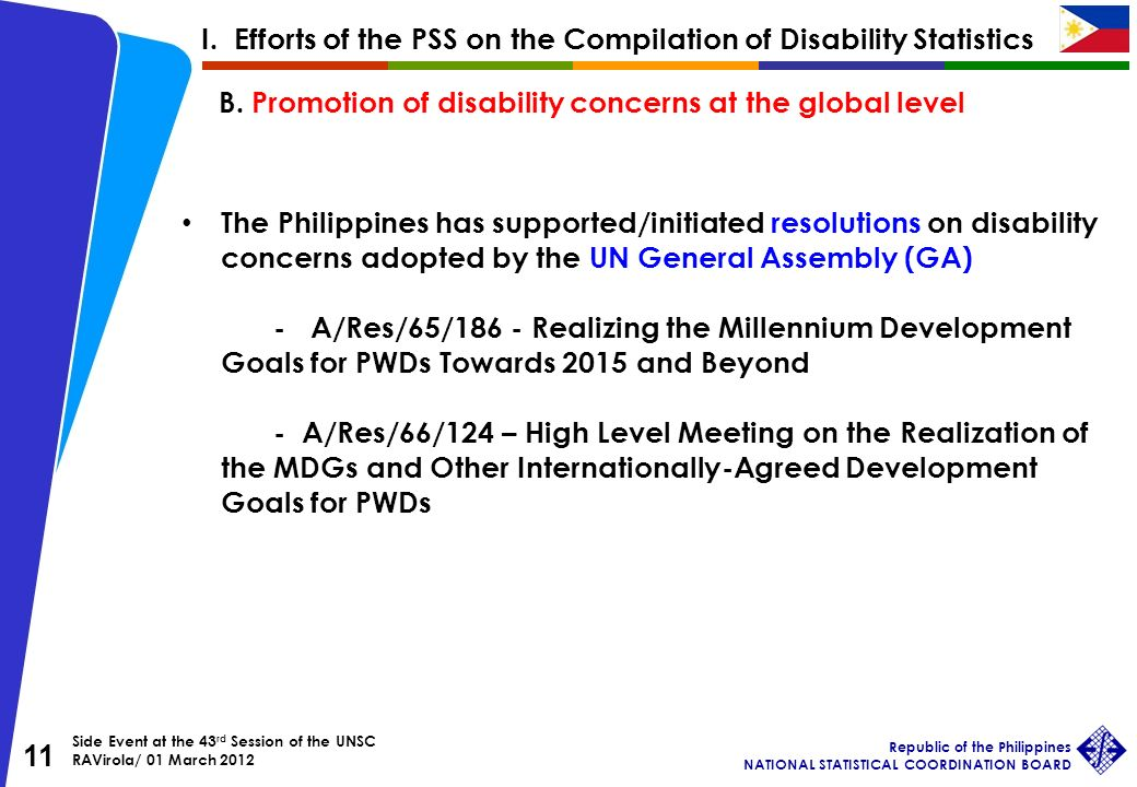 Side Event at the 43 rd Session of the UNSC RAVirola/ 01 March 2012 Republic of the Philippines NATIONAL STATISTICAL COORDINATION BOARD 11 The Philippines has supported/initiated resolutions on disability concerns adopted by the UN General Assembly (GA) - A/Res/65/186 - Realizing the Millennium Development Goals for PWDs Towards 2015 and Beyond - A/Res/66/124 – High Level Meeting on the Realization of the MDGs and Other Internationally-Agreed Development Goals for PWDs B.