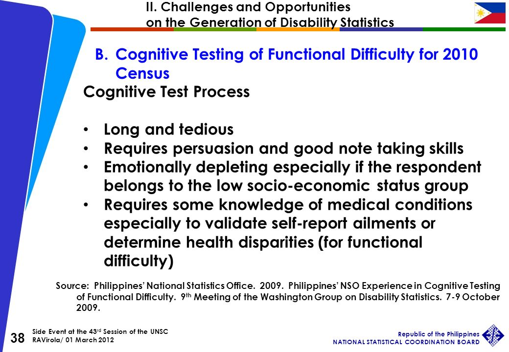 Side Event at the 43 rd Session of the UNSC RAVirola/ 01 March 2012 Republic of the Philippines NATIONAL STATISTICAL COORDINATION BOARD 38 B.Cognitive Testing of Functional Difficulty for 2010 Census Cognitive Test Process Long and tedious Requires persuasion and good note taking skills Emotionally depleting especially if the respondent belongs to the low socio-economic status group Requires some knowledge of medical conditions especially to validate self-report ailments or determine health disparities (for functional difficulty) Source: Philippines National Statistics Office.
