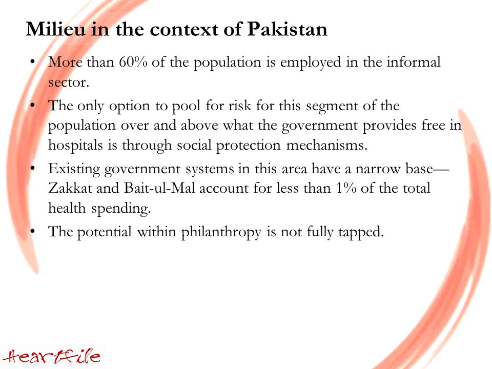 Milieu in the context of Pakistan More than 60% of the population is employed in the informal sector.