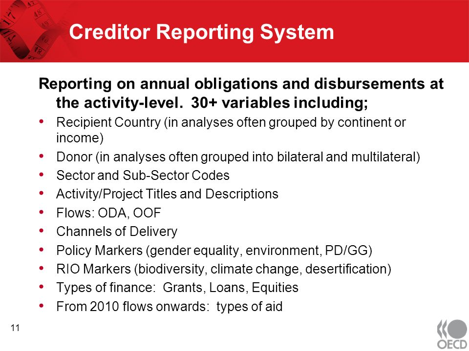 Creditor Reporting System Reporting on annual obligations and disbursements at the activity-level.