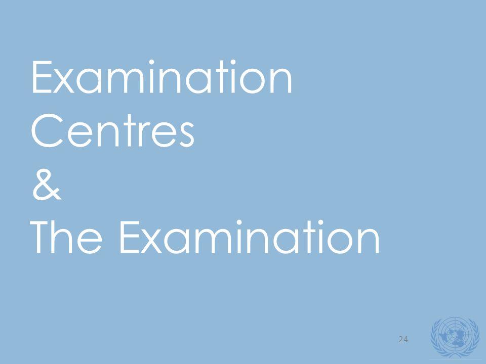 24 Examination Centres & The Examination