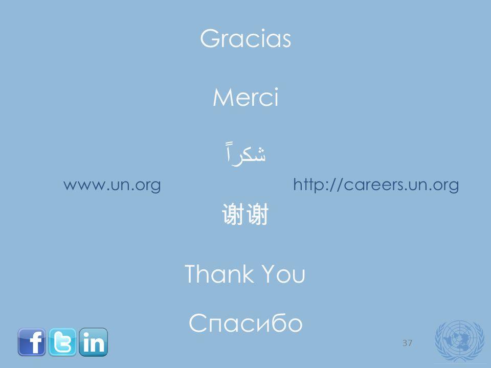 37 Gracias Merci Thank You Спасибо www.un.orghttp://careers.un.org