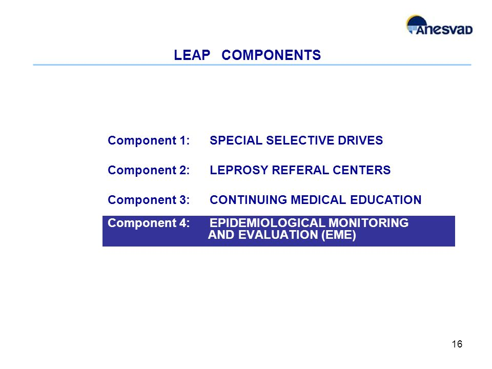 LEAP COMPONENTS Component 4: EPIDEMIOLOGICAL MONITORING AND EVALUATION (EME) 16 Component 1: SPECIAL SELECTIVE DRIVES Component 2: LEPROSY REFERAL CENTERS Component 3: CONTINUING MEDICAL EDUCATION