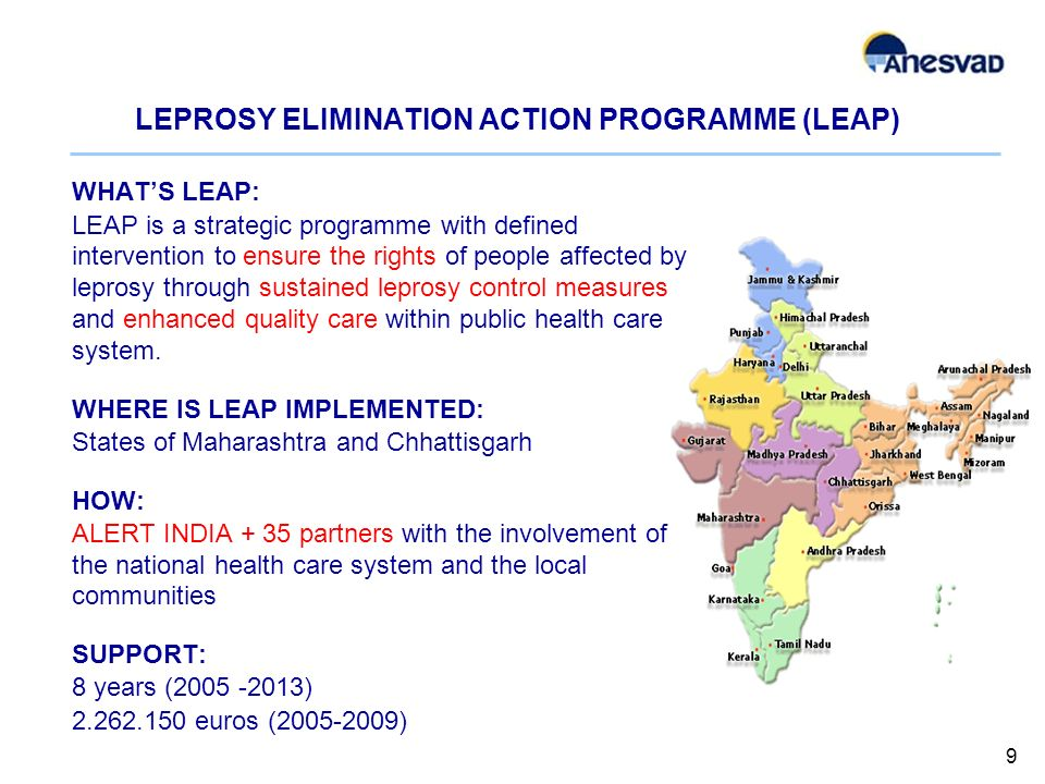 LEPROSY ELIMINATION ACTION PROGRAMME (LEAP) WHATS LEAP: LEAP is a strategic programme with defined intervention to ensure the rights of people affected by leprosy through sustained leprosy control measures and enhanced quality care within public health care system.
