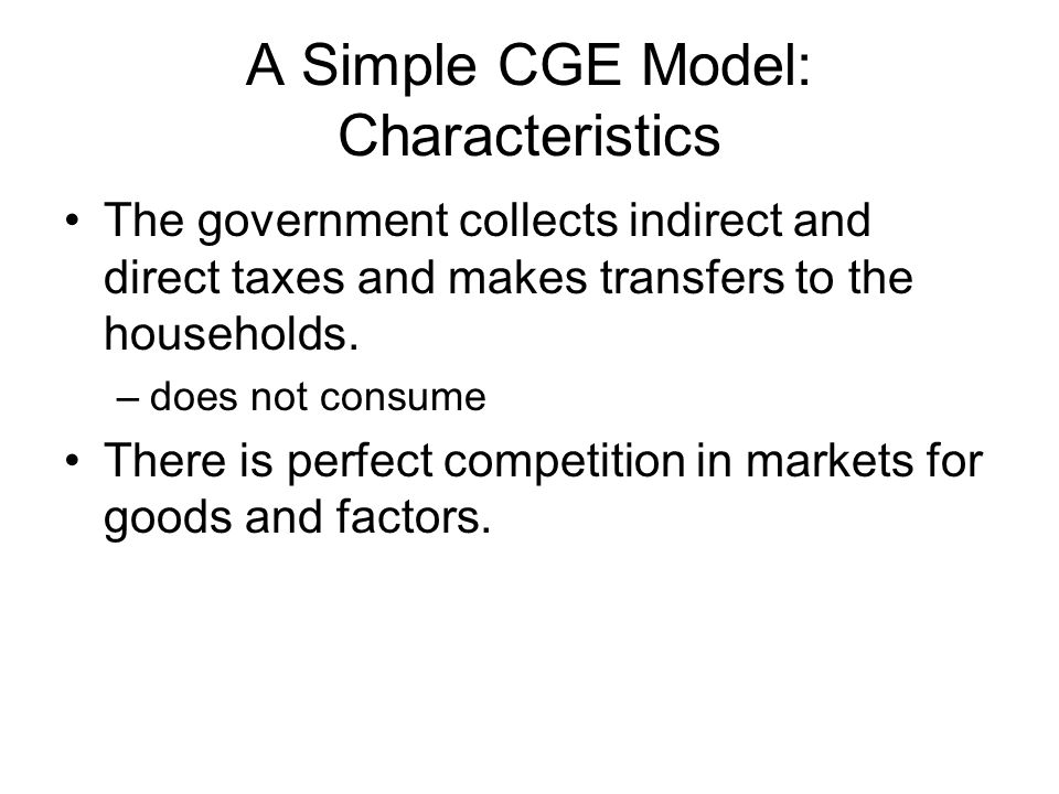 A Simple CGE Model: Characteristics The government collects indirect and direct taxes and makes transfers to the households. –does not consume There i