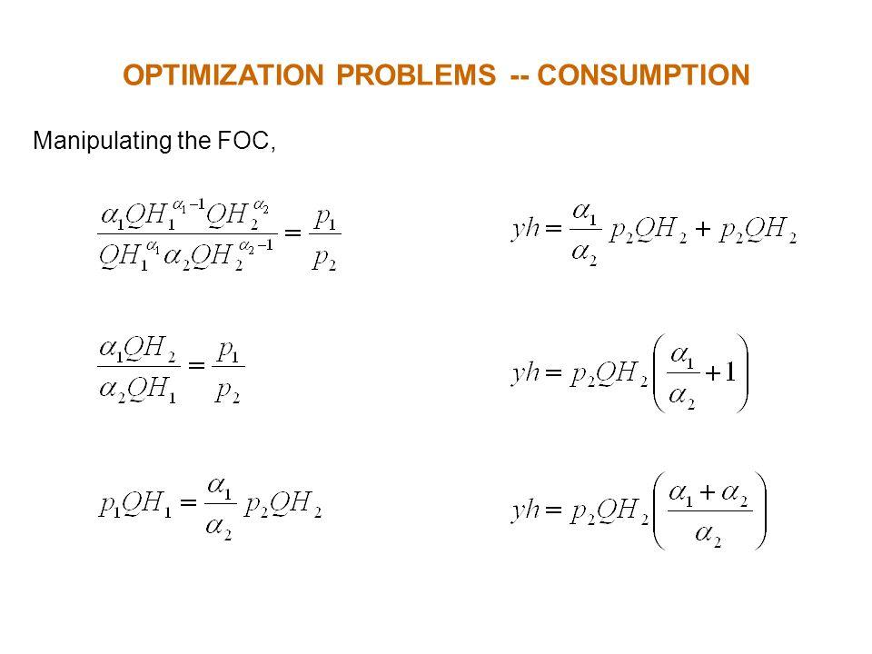 Manipulating the FOC, OPTIMIZATION PROBLEMS -- CONSUMPTION