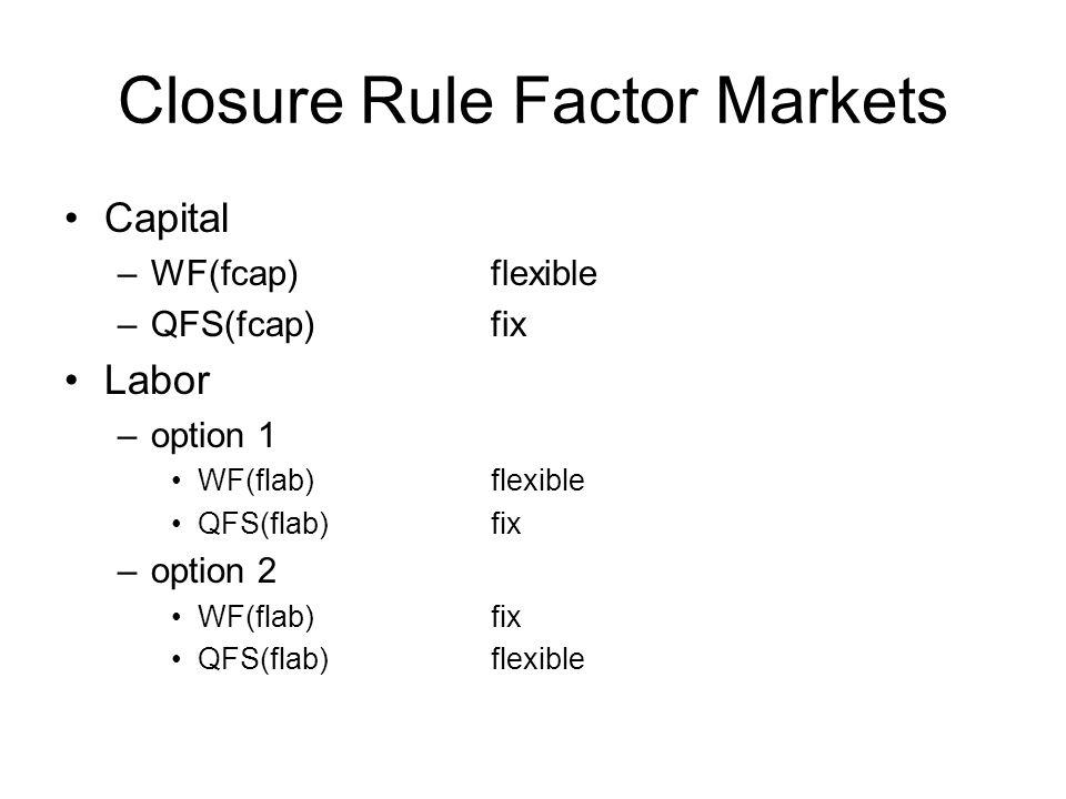 Closure Rule Factor Markets Capital –WF(fcap)flexible –QFS(fcap)fix Labor –option 1 WF(flab)flexible QFS(flab)fix –option 2 WF(flab)fix QFS(flab)flexi