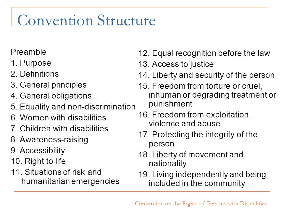 Convention on the Rights of Persons with Disabilities Convention Structure Preamble 1. Purpose 2. Definitions 3. General principles 4. General obligat