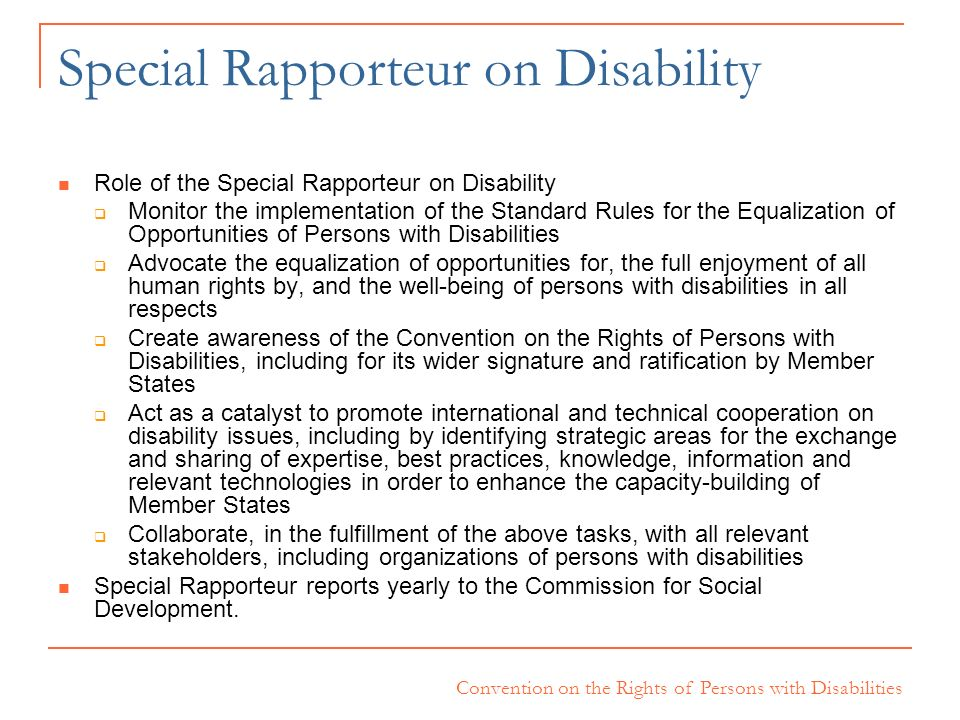 Convention on the Rights of Persons with Disabilities Special Rapporteur on Disability Role of the Special Rapporteur on Disability Monitor the implem