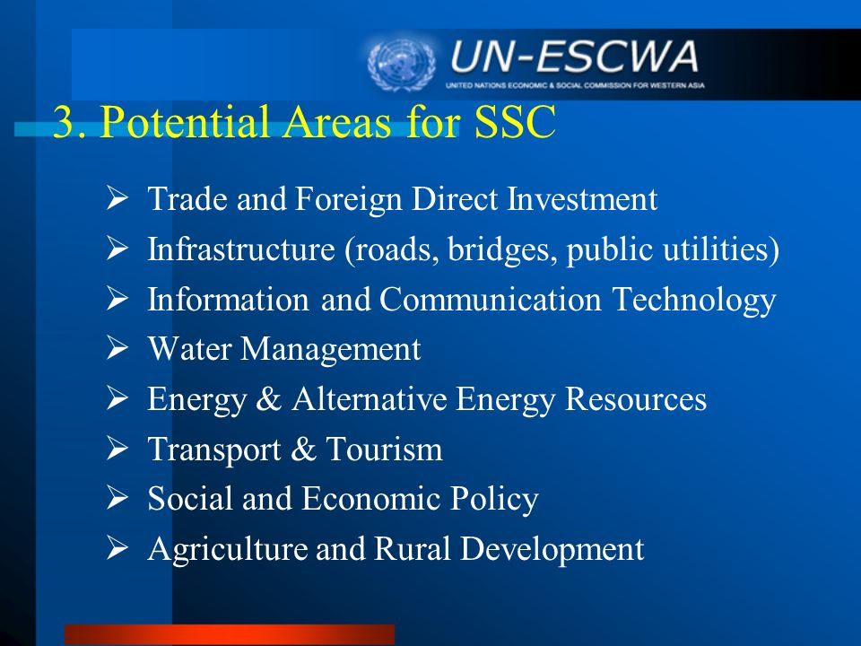 3. Potential Areas for SSC Trade and Foreign Direct Investment Infrastructure (roads, bridges, public utilities) Information and Communication Technol