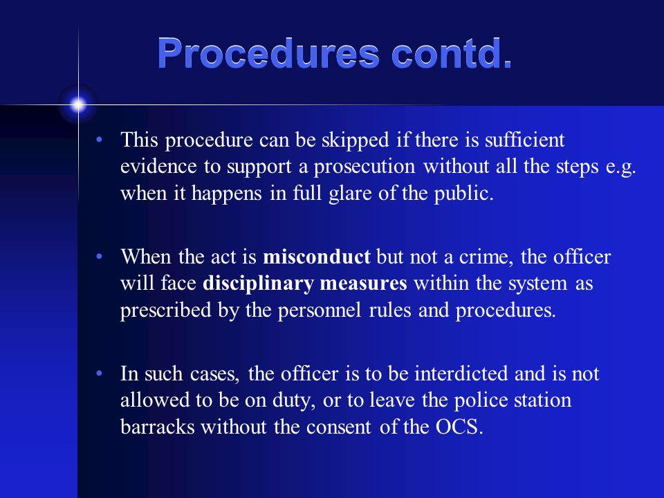Procedures contd.