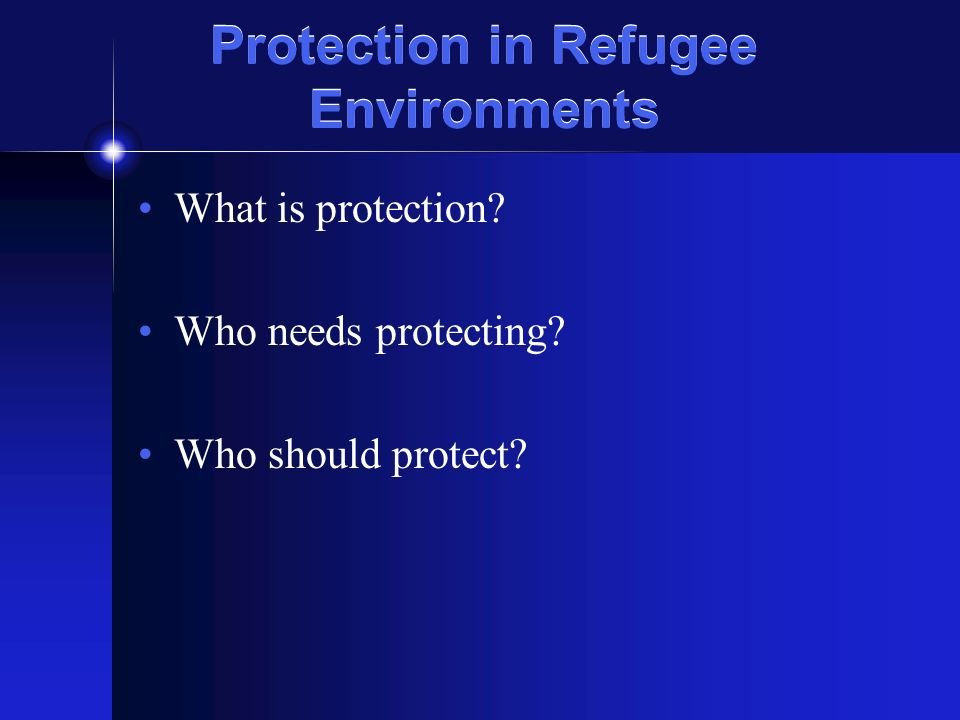 Protection Safety Dignity Integrity Securing peoples safety Inner emotional experience; all kinds of abuses and violations are attacks on a persons dignity Bringing together priorities of safety, dignity and material needs