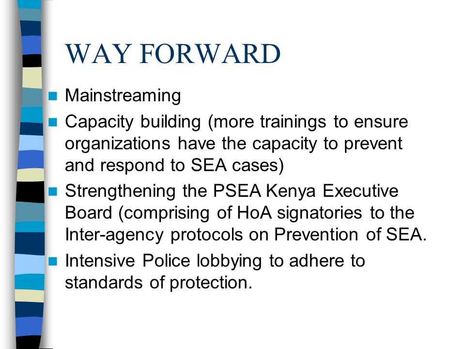 WAY FORWARD Mainstreaming Capacity building (more trainings to ensure organizations have the capacity to prevent and respond to SEA cases) Strengthening the PSEA Kenya Executive Board (comprising of HoA signatories to the Inter-agency protocols on Prevention of SEA.