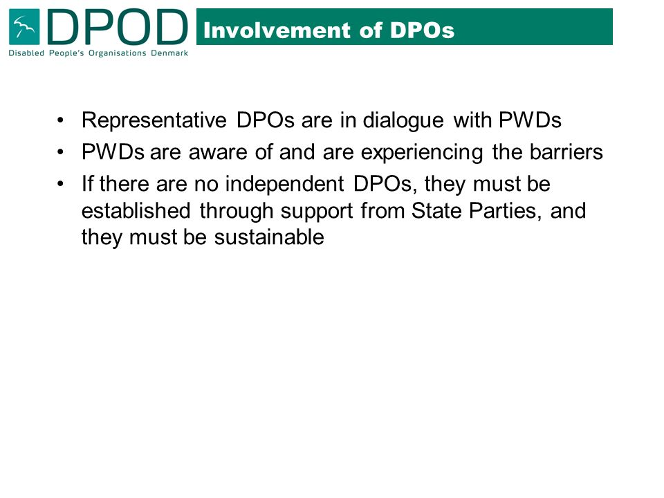 Involvement of DPOs Representative DPOs are in dialogue with PWDs PWDs are aware of and are experiencing the barriers If there are no independent DPOs