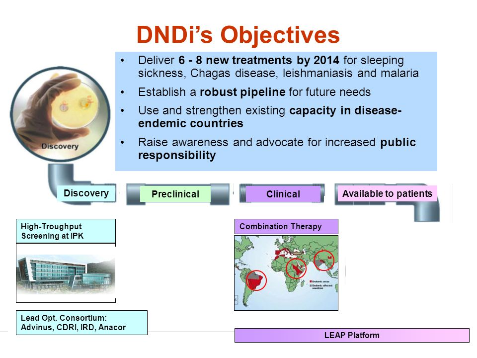 Preclinical Clinical Discovery Available to patients High-Troughput Screening at IPK DNDis Objectives Lead Opt.