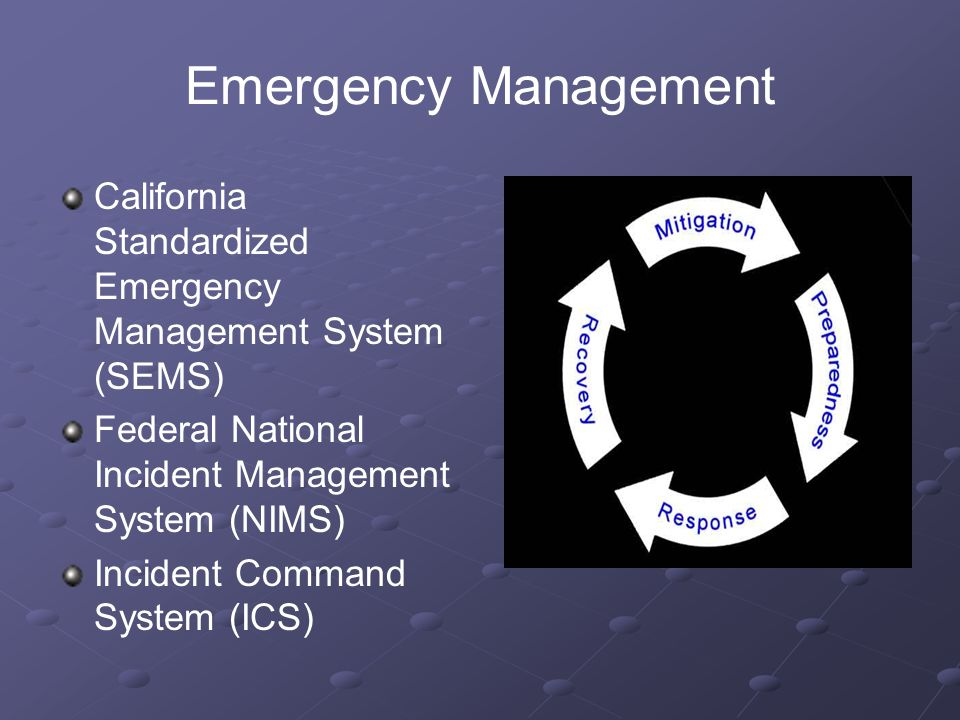 Emergency Management California Standardized Emergency Management System (SEMS) Federal National Incident Management System (NIMS) Incident Command System (ICS)