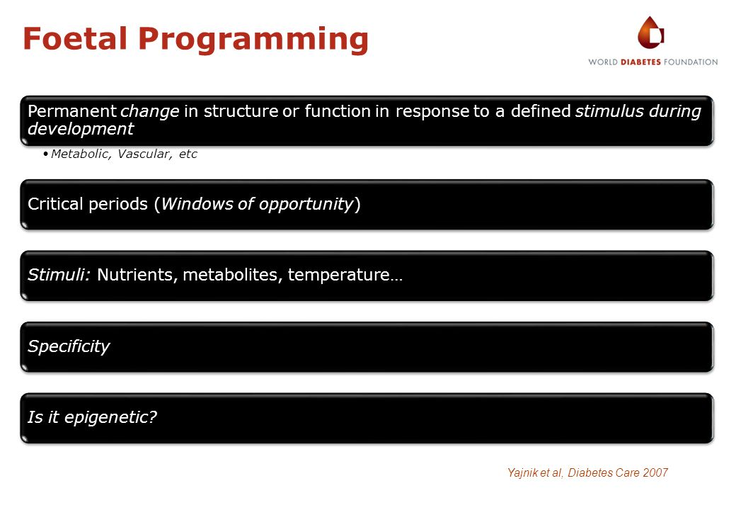 Foetal Programming Permanent change in structure or function in response to a defined stimulus during development Metabolic, Vascular, etc Critical pe