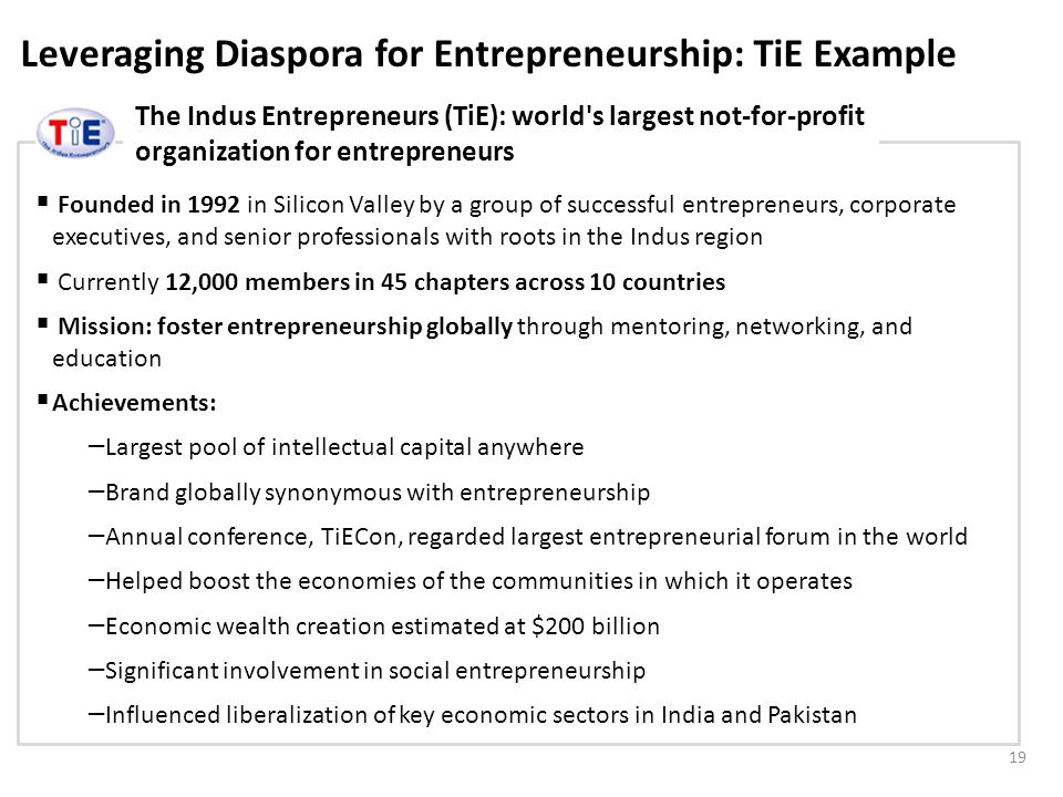 Leveraging Diaspora for Entrepreneurship: TiE Example The Indus Entrepreneurs (TiE): world s largest not-for-profit organization for entrepreneurs 19 Founded in 1992 in Silicon Valley by a group of successful entrepreneurs, corporate executives, and senior professionals with roots in the Indus region Currently 12,000 members in 45 chapters across 10 countries Mission: foster entrepreneurship globally through mentoring, networking, and education Achievements: – Largest pool of intellectual capital anywhere – Brand globally synonymous with entrepreneurship – Annual conference, TiECon, regarded largest entrepreneurial forum in the world – Helped boost the economies of the communities in which it operates – Economic wealth creation estimated at $200 billion – Significant involvement in social entrepreneurship – Influenced liberalization of key economic sectors in India and Pakistan