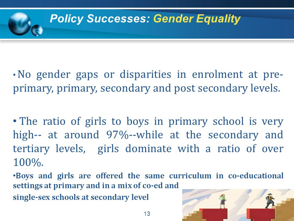 13 No gender gaps or disparities in enrolment at pre- primary, primary, secondary and post secondary levels. The ratio of girls to boys in primary sch