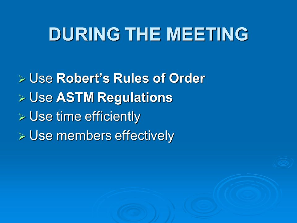 DURING THE MEETING Use Roberts Rules of Order Use Roberts Rules of Order Use ASTM Regulations Use ASTM Regulations Use time efficiently Use time efficiently Use members effectively Use members effectively