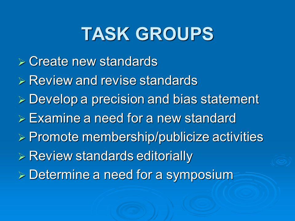 Create new standards Create new standards Review and revise standards Review and revise standards Develop a precision and bias statement Develop a pre