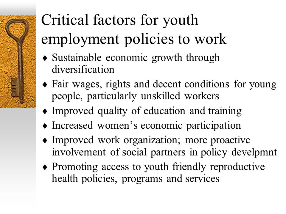 Critical factors for youth employment policies to work Sustainable economic growth through diversification Fair wages, rights and decent conditions for young people, particularly unskilled workers Improved quality of education and training Increased womens economic participation Improved work organization; more proactive involvement of social partners in policy develpmnt Promoting access to youth friendly reproductive health policies, programs and services