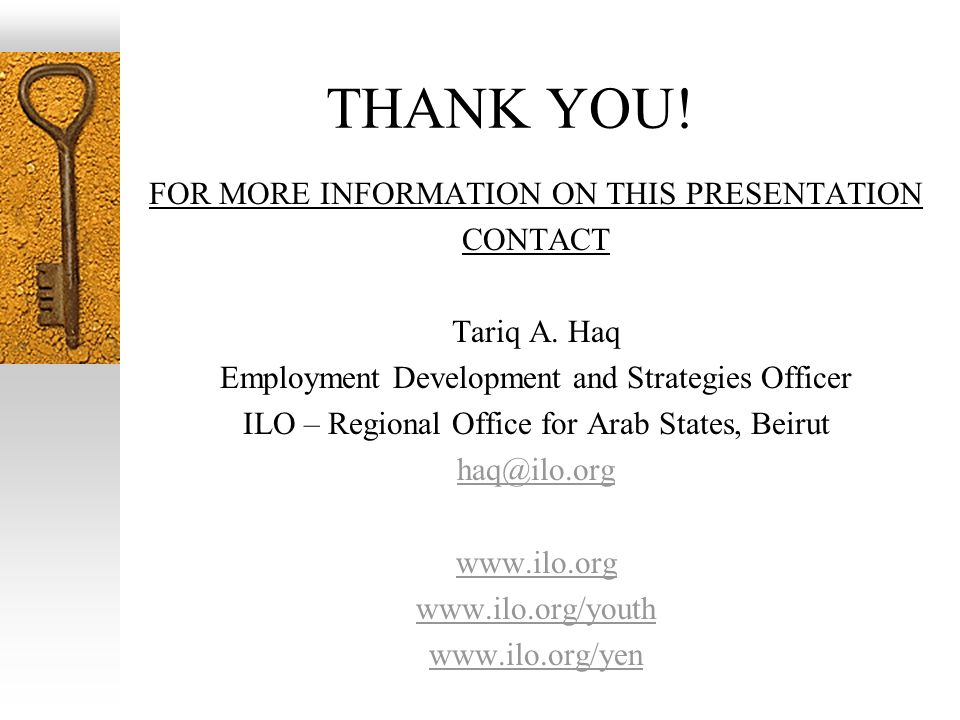 THANK YOU. FOR MORE INFORMATION ON THIS PRESENTATION CONTACT Tariq A.