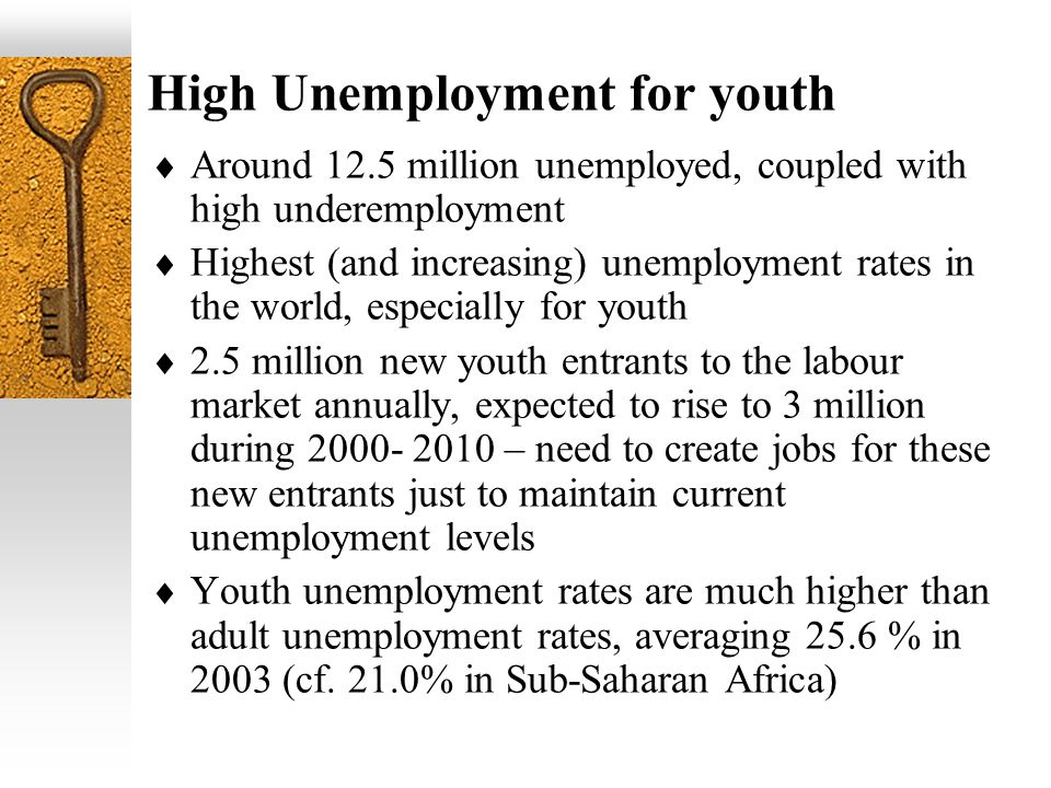 High Unemployment for youth Around 12.5 million unemployed, coupled with high underemployment Highest (and increasing) unemployment rates in the world, especially for youth 2.5 million new youth entrants to the labour market annually, expected to rise to 3 million during – need to create jobs for these new entrants just to maintain current unemployment levels Youth unemployment rates are much higher than adult unemployment rates, averaging 25.6 % in 2003 (cf.