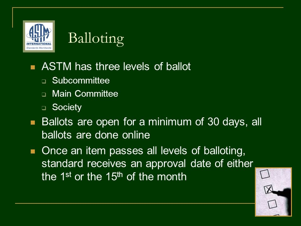 ASTM has three levels of ballot Subcommittee Main Committee Society Ballots are open for a minimum of 30 days, all ballots are done online Once an item passes all levels of balloting, standard receives an approval date of either the 1 st or the 15 th of the month