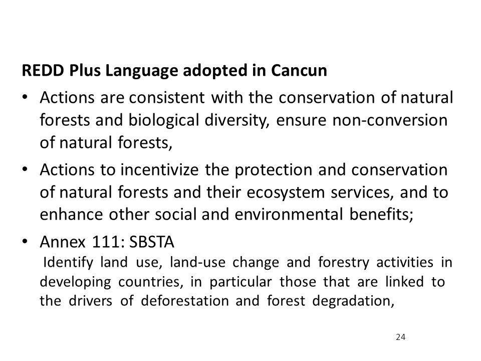 24 REDD Plus Language adopted in Cancun Actions are consistent with the conservation of natural forests and biological diversity, ensure non-conversion of natural forests, Actions to incentivize the protection and conservation of natural forests and their ecosystem services, and to enhance other social and environmental benefits; Annex 111: SBSTA Identify land use, land-use change and forestry activities in developing countries, in particular those that are linked to the drivers of deforestation and forest degradation,