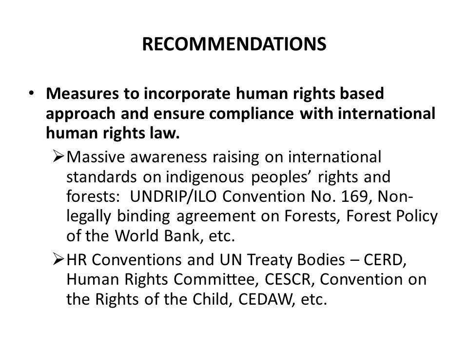 RECOMMENDATIONS Measures to incorporate human rights based approach and ensure compliance with international human rights law.
