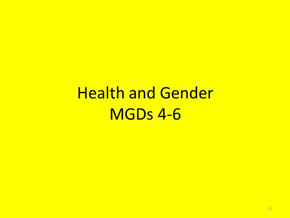 Health and Gender MGDs 4-6 12