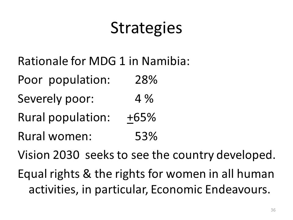 Strategies Rationale for MDG 1 in Namibia: Poor population:28% Severely poor:4 % Rural population: +65% Rural women:53% Vision 2030 seeks to see the country developed.