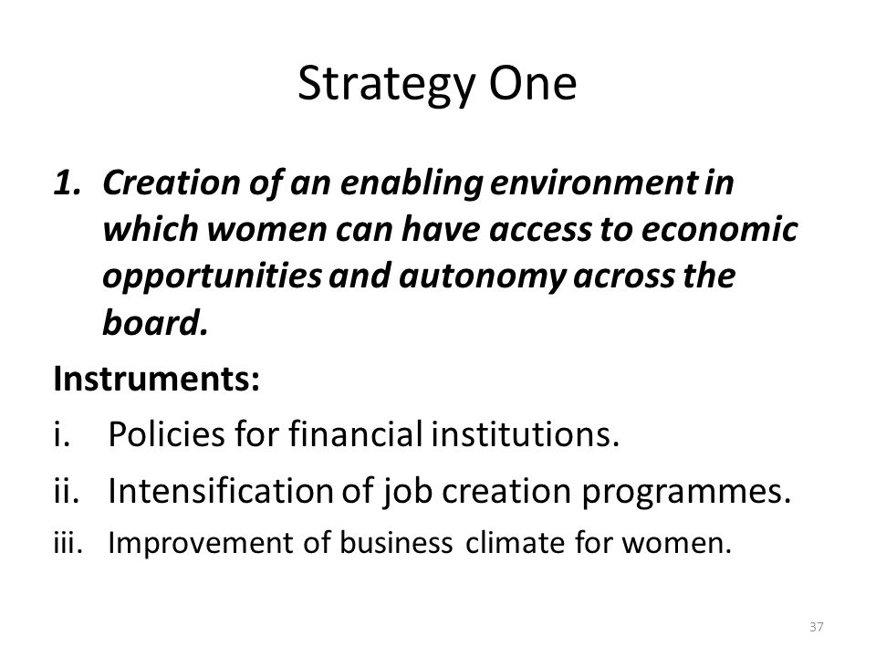 Strategy One 1.Creation of an enabling environment in which women can have access to economic opportunities and autonomy across the board.