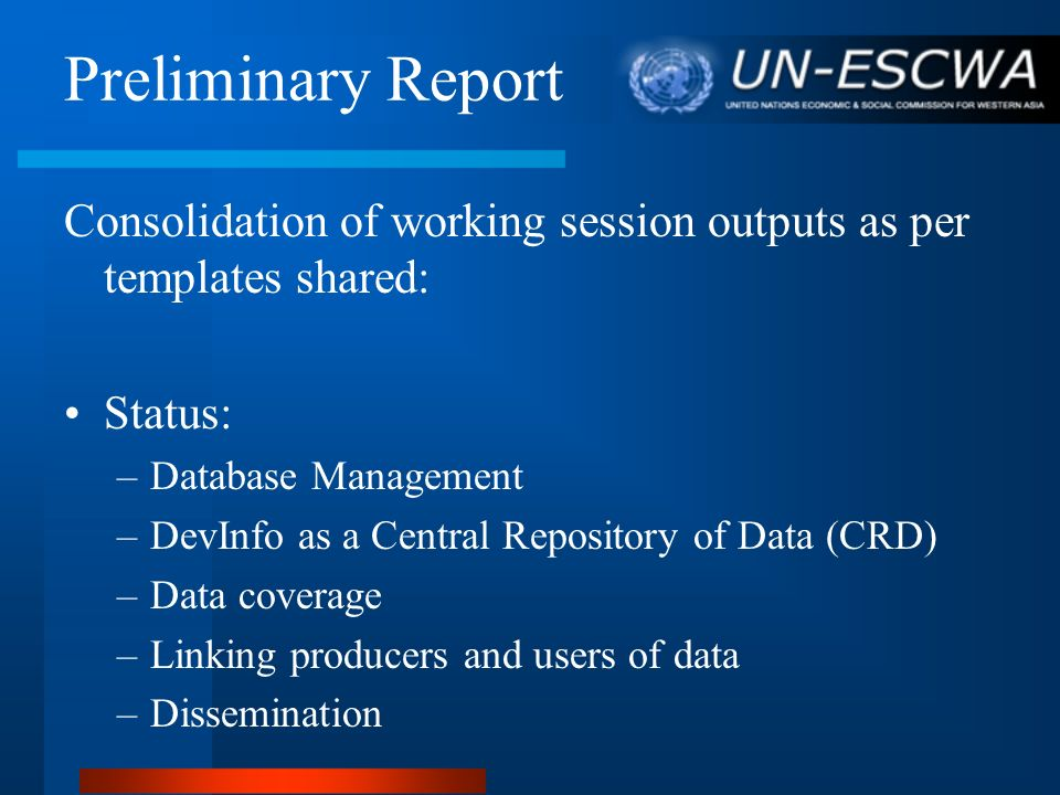 Preliminary Report Structure and Content Review Summary: 1.DevInfo summary report (Excel sheets) 2.
