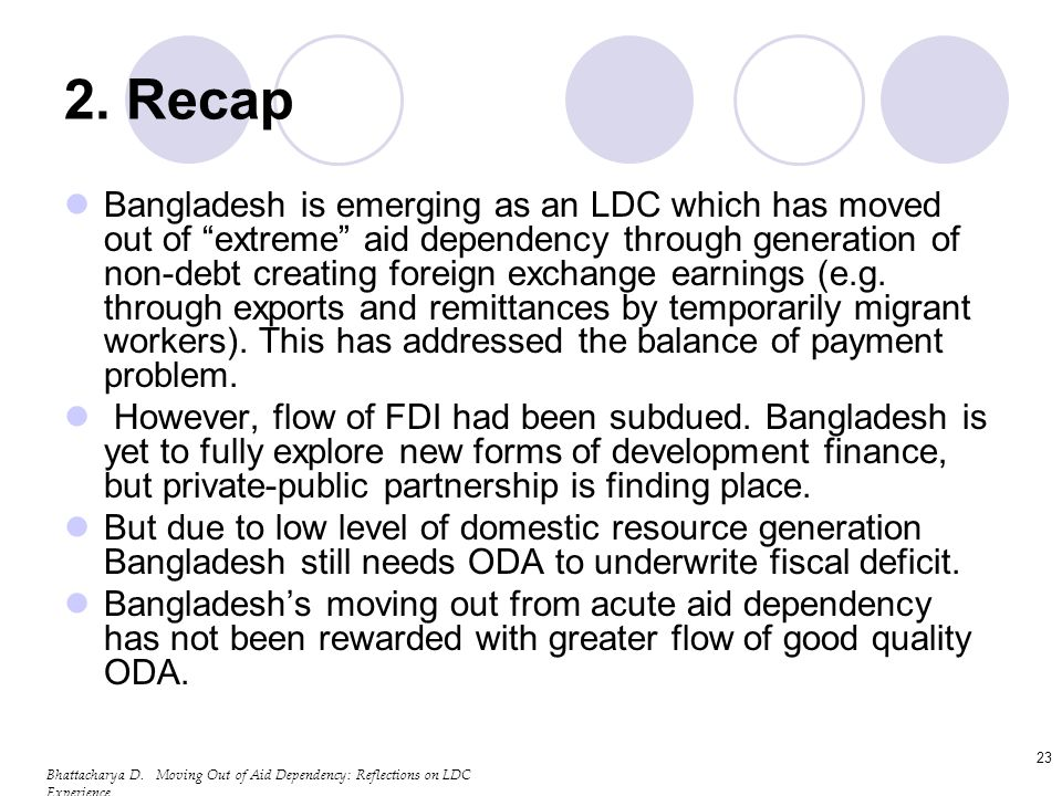 Bhattacharya D. Moving Out of Aid Dependency: Reflections on LDC Experience 23 2.