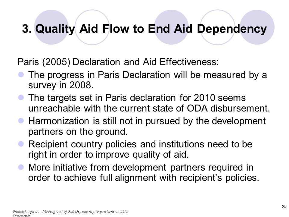 Bhattacharya D. Moving Out of Aid Dependency: Reflections on LDC Experience 25 3. Quality Aid Flow to End Aid Dependency Paris (2005) Declaration and