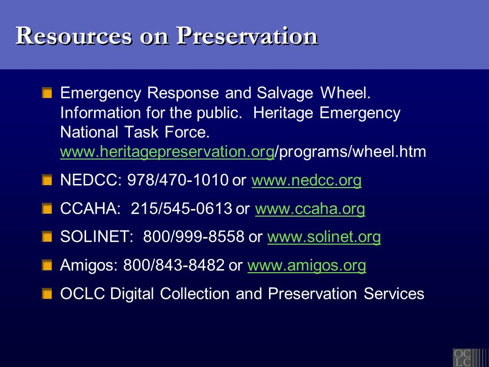 Resources on Preservation Emergency Response and Salvage Wheel.