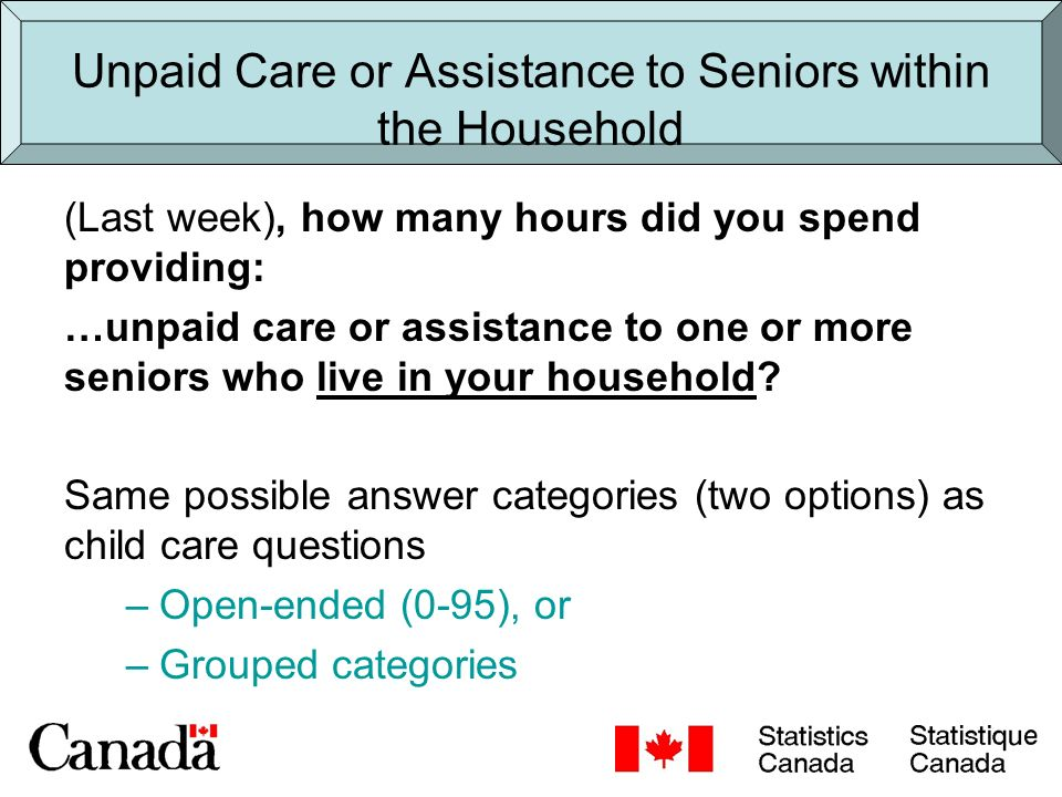 Unpaid Care or Assistance to Seniors within the Household (Last week), how many hours did you spend providing: …unpaid care or assistance to one or more seniors who live in your household.