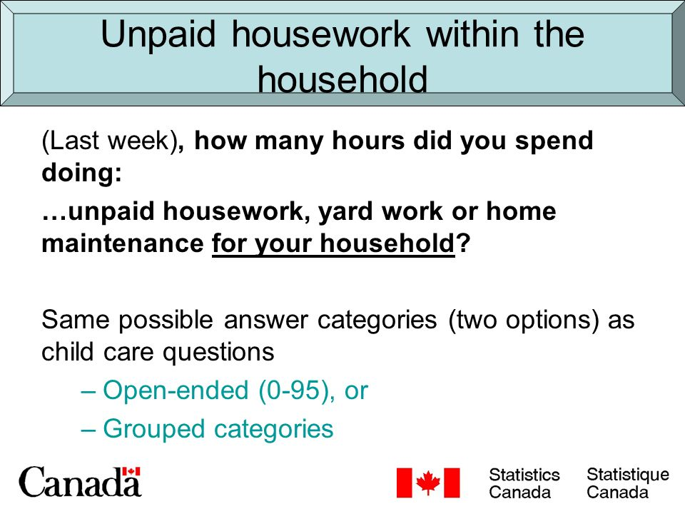 Unpaid housework within the household (Last week), how many hours did you spend doing: …unpaid housework, yard work or home maintenance for your household.