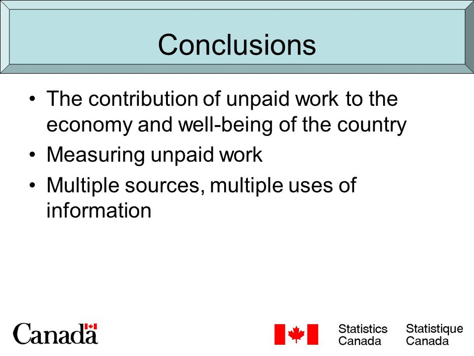 Conclusions The contribution of unpaid work to the economy and well-being of the country Measuring unpaid work Multiple sources, multiple uses of information