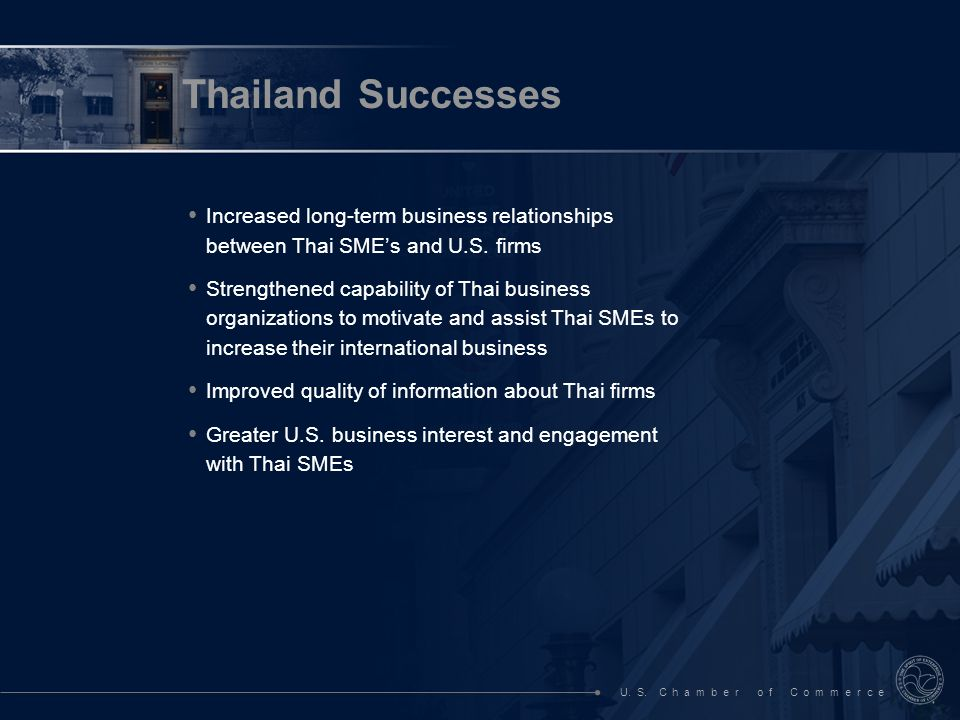 U. S. C h a m b e r o f C o m m e r c e Increased long-term business relationships between Thai SMEs and U.S. firms Strengthened capability of Thai bu