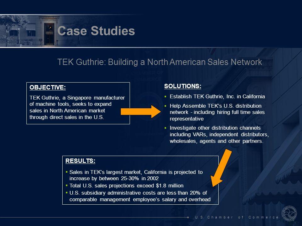 U. S. C h a m b e r o f C o m m e r c e Case Studies TEK Guthrie: Building a North American Sales Network OBJECTIVE: TEK Guthrie, a Singapore manufact