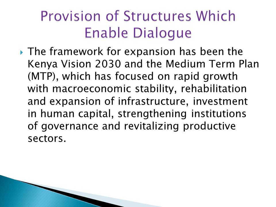 In line with the 2002- 2007 Economic Recovery for Wealth and Employment Creation (ERWEC) the Vision 2030 and the MTP was designed by taking full cognizance of the Millennium Development Goals (MDGs).