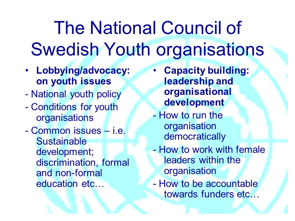 The National Council of Swedish Youth organisations Lobbying/advocacy: on youth issues - National youth policy - Conditions for youth organisations -