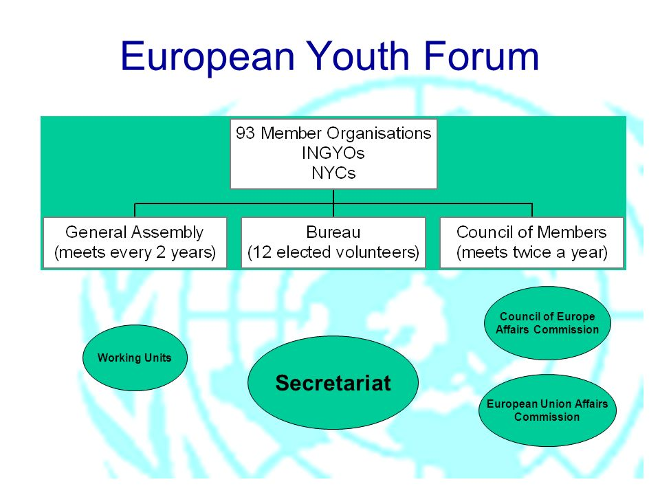 Secretariat Working Units Council of Europe Affairs Commission European Union Affairs Commission European Youth Forum