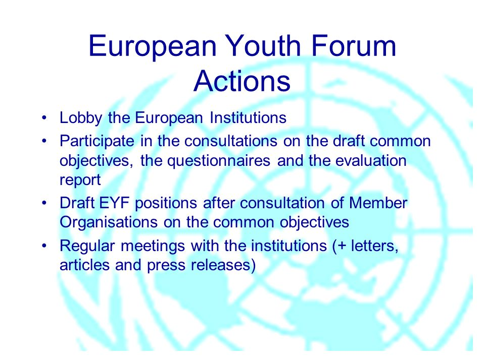 European Youth Forum Actions Lobby the European Institutions Participate in the consultations on the draft common objectives, the questionnaires and the evaluation report Draft EYF positions after consultation of Member Organisations on the common objectives Regular meetings with the institutions (+ letters, articles and press releases)