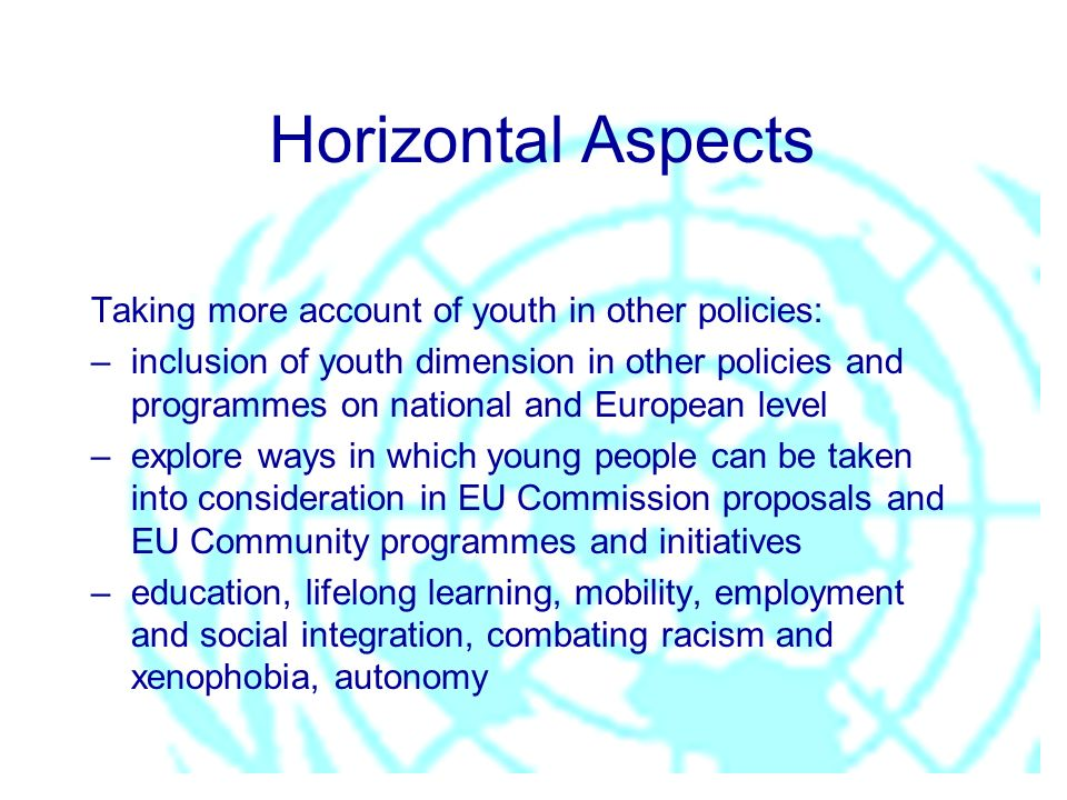 Horizontal Aspects Taking more account of youth in other policies: –inclusion of youth dimension in other policies and programmes on national and European level –explore ways in which young people can be taken into consideration in EU Commission proposals and EU Community programmes and initiatives –education, lifelong learning, mobility, employment and social integration, combating racism and xenophobia, autonomy