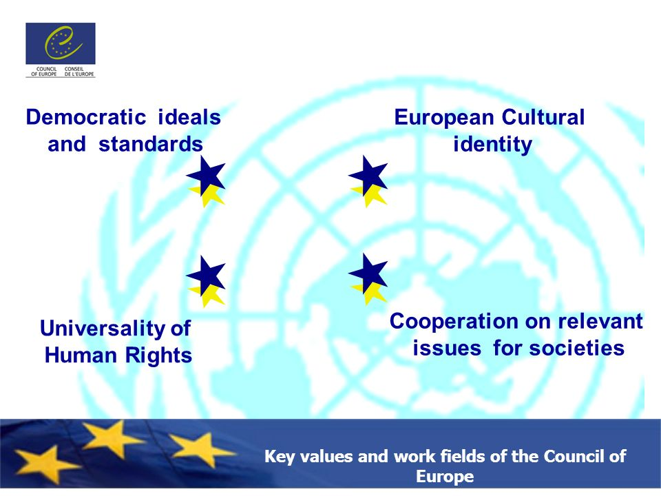 Key values and work fields of the Council of Europe Democratic ideals and standards European Cultural identity Cooperation on relevant issues for societies Universality of Human Rights